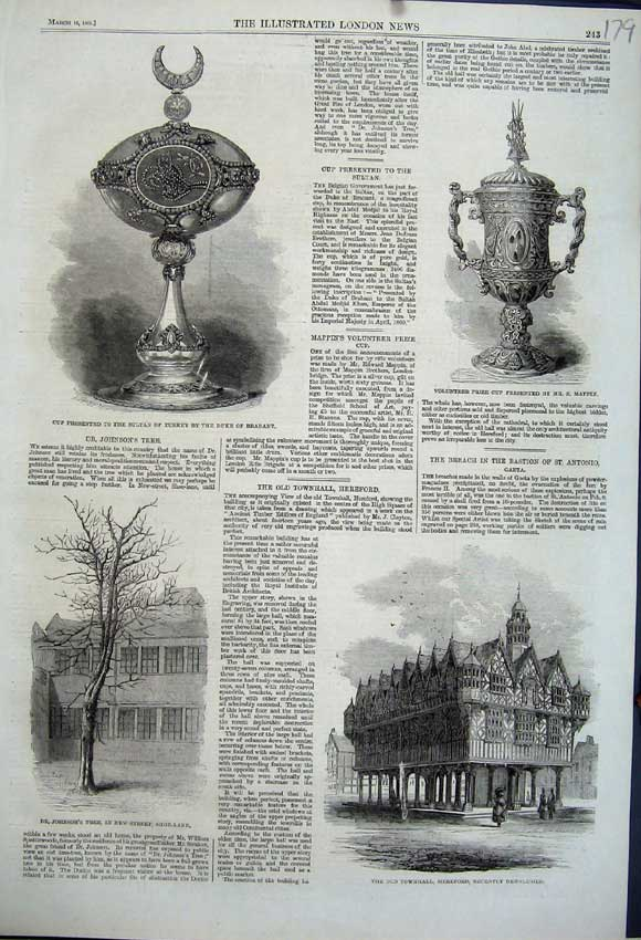 Print 1861 Townhall Hereford Cup Mappin Sultan Turkey Tree 179N111 Old Original