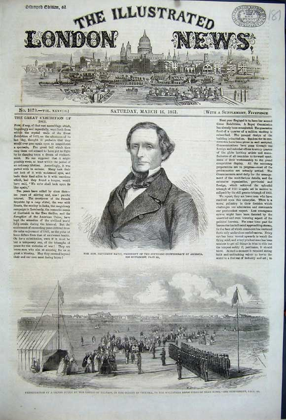 Print 1861 Jefferson Davies Ladies Belfast Victoria Rifle 181N111 Old Original