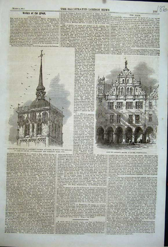 Print 1861 Cages Lamberti Church Leyden House Westphalia 186N111 Old Original