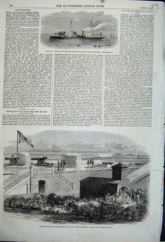 Print 1861 Fort Moultrie Charleston Gun-Boat Emperor Russia 189N111 Old Original