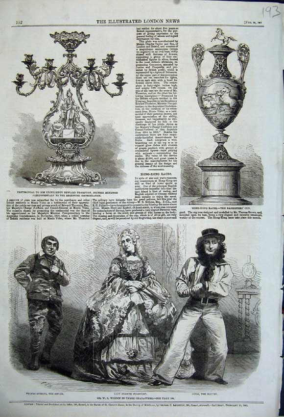 Print 1861 Theatre Woodin Barrister Cup Edward Thornton 193N111 Old Original