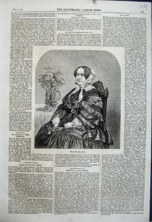 Print Portrait Lady Mrs Gore Sitting Chair 1861 199N111 Old Original
