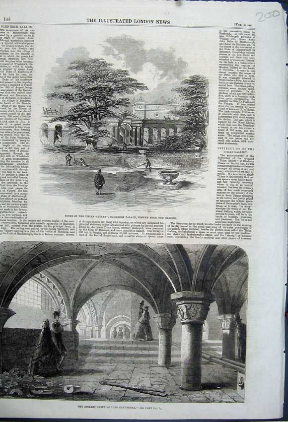 Print Titian Gallery Blenheim Palace 1861 Crypt Cathedral 200N111 Old Original