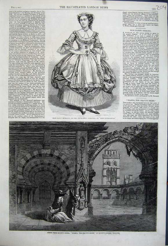 Print 1861 Fanny Stirling Theatre Opera Bianca Covent Garden 204N111 Old Original