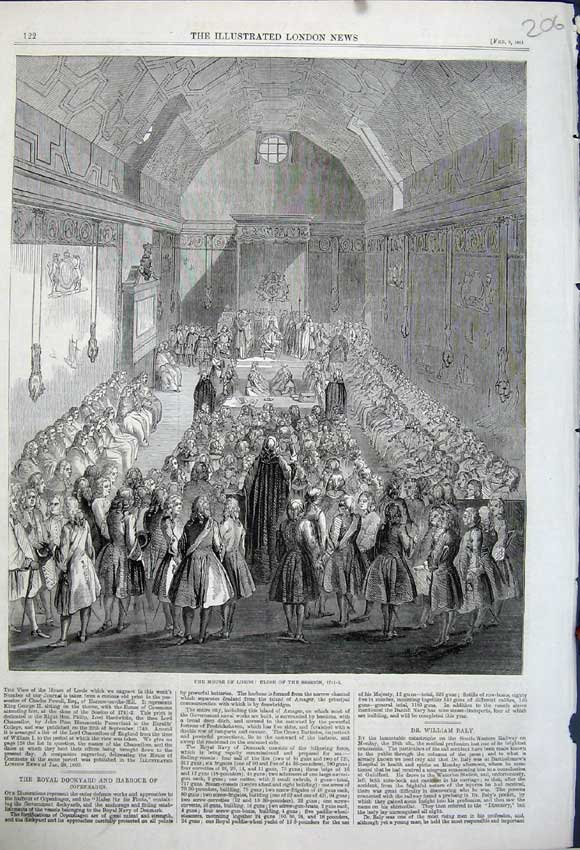 Print 1861 Interior House Lords Session Close Parliament M. P 206N111 Old Original