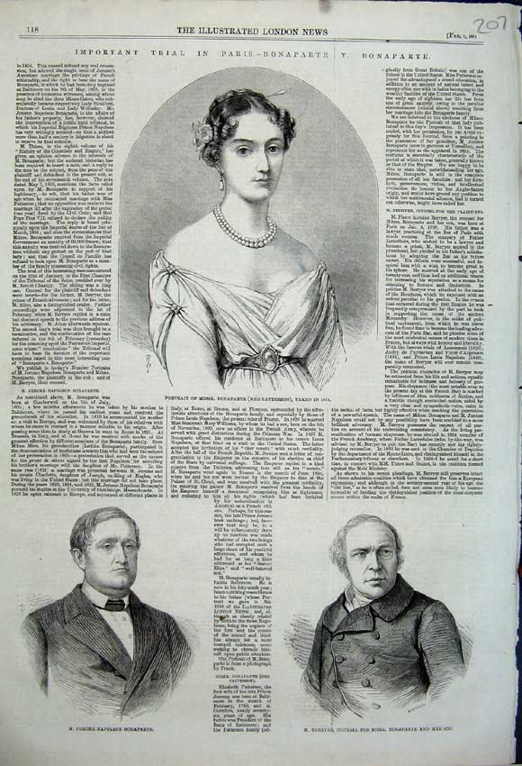 Print Portrait Madame Bonaparte Jerome Berryer Napoleon 1861 207N111 Old Original