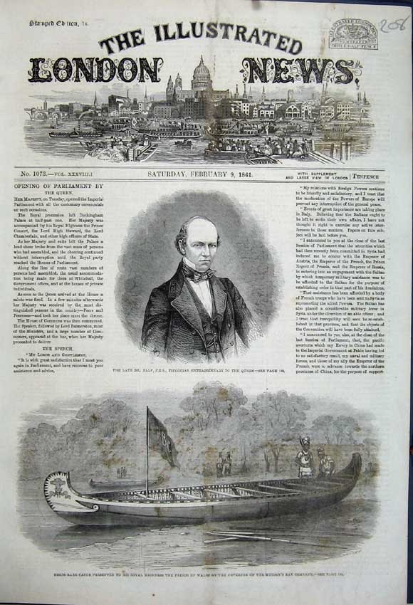 Print 1861 Portrait Dr Baly Queen Canoe Prince Wales Hudson 208N111 Old Original