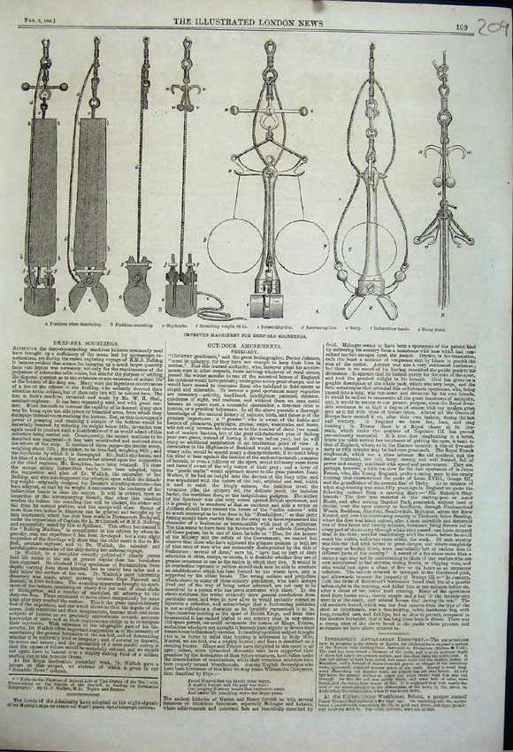 Print 1861 Machinery Deep Sea Soundings Suspending Line Scoop 209N111 Old Original
