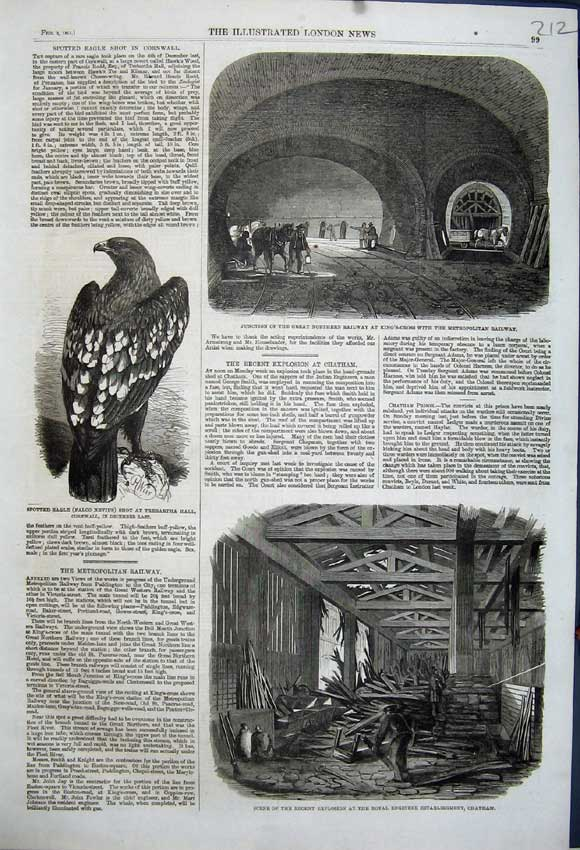 Print 1861 Railway Spotted Eagle Explosion Engineer Chatham 212N111 Old Original