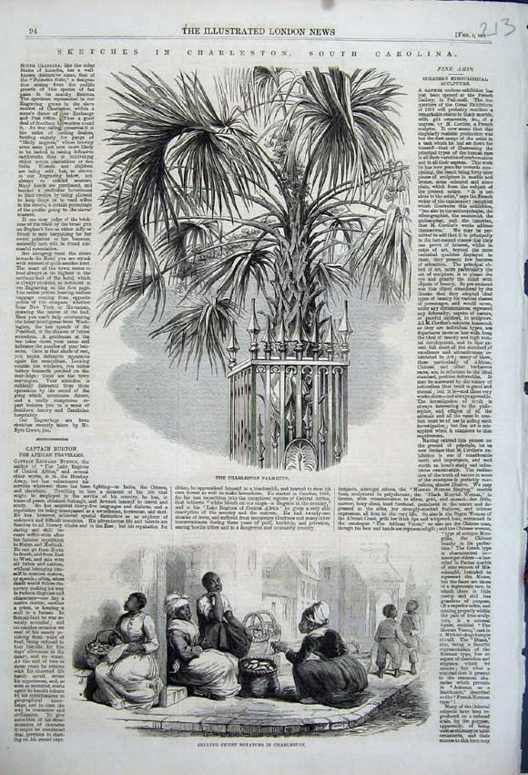 Print 1861 Charleston Palmetto Selling Sweet Potatoes Street 213N111 Old Original