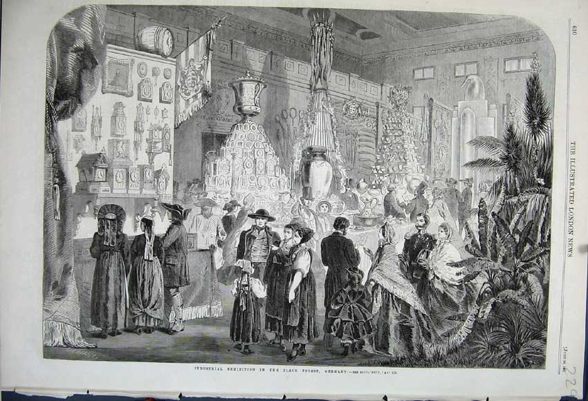 Print 1861 Industrial Exhibition Black Forest Germany People 229N111 Old Original