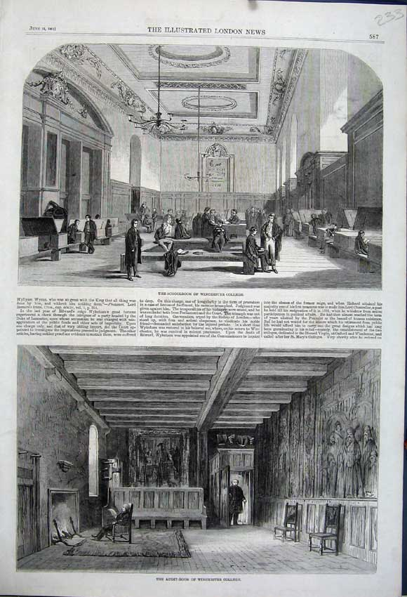 Print 1861 Schoolroom Winchester College Audit-Room Teacher 233N111 Old Original
