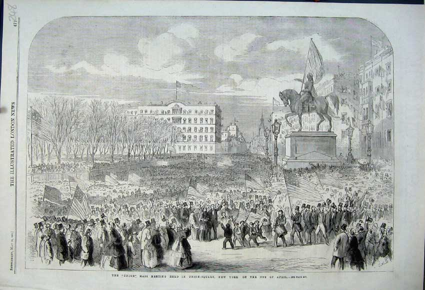 Print 1861 Union Mass Meeting Union-Square New York Staute 248N111 Old Original