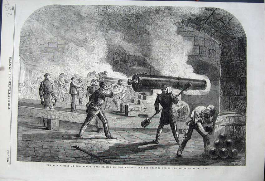 Print 1861 Main Battery Fort Sumter Fort Moultrie Cannon Guns 252N111 Old Original