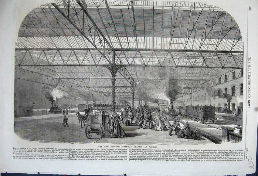 Print 1861 New Victoria Railway Station Pimlico Train Horse 258N111 Old Original