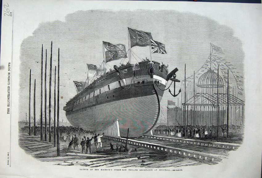 Print 1861 Launch Her Majesty Steam-Ram Frigate Resistance 262N111 Old Original