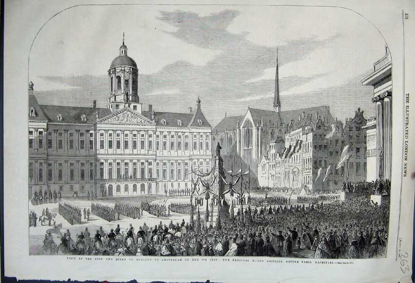 Print King Queen Holland Amsterdam 1861 National Guard Parade 263N111 Old Original