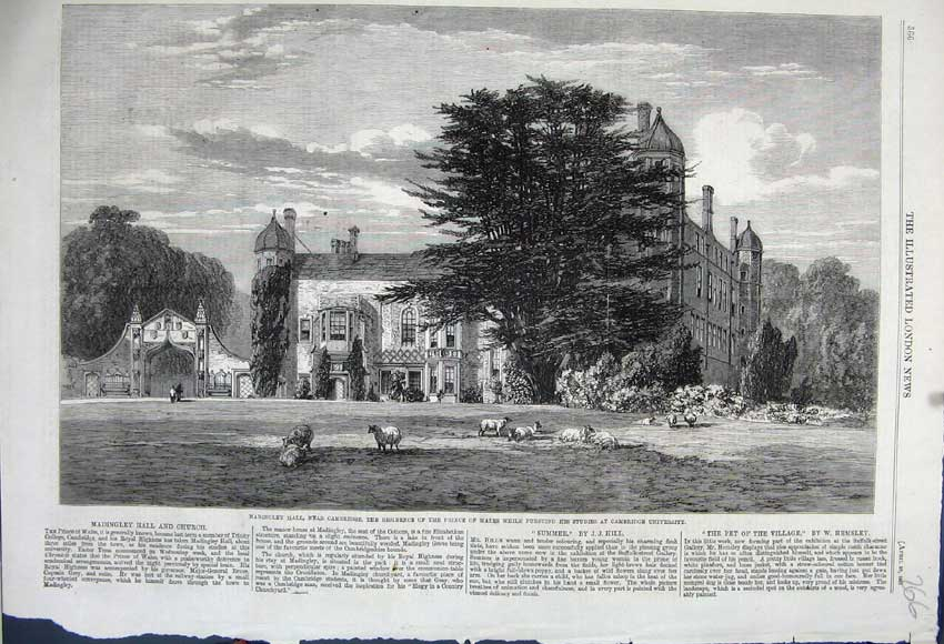 Print 1861 Madingley Hall Prince Wales Cambridge University 266N111 Old Original