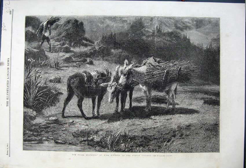 Print 1861 Three Brothers Rosa Bonheur French Gallery Donkeys 272N111 Old Original