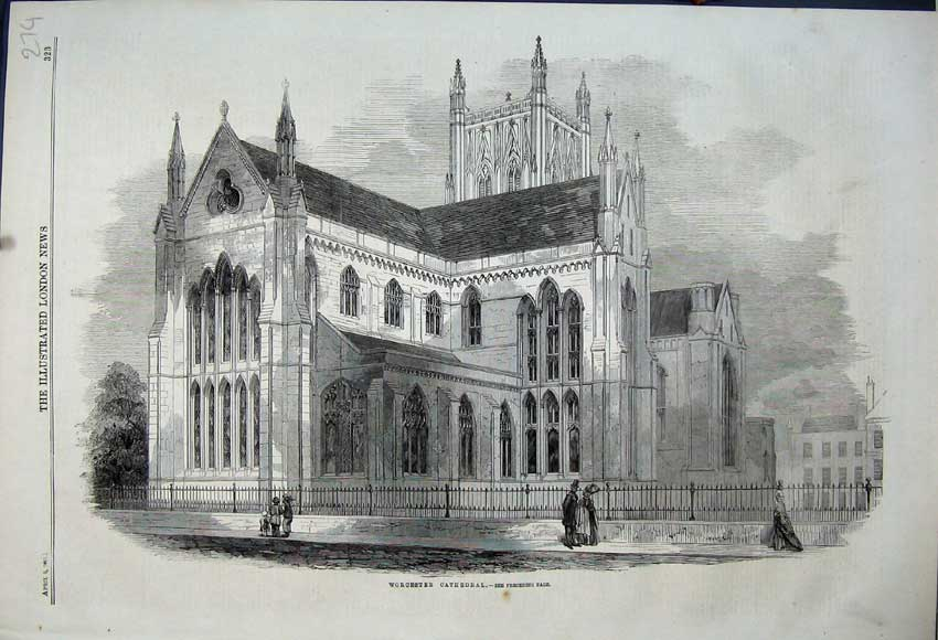 Print Exterior View Worcester Cathedral Church Building 1861 274N111 Old Original