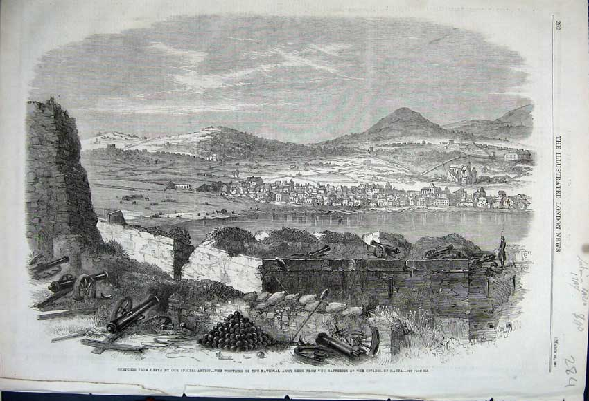 Print 1861 City Gaeta Italy National Army Batteries Citadel 284N111 Old Original