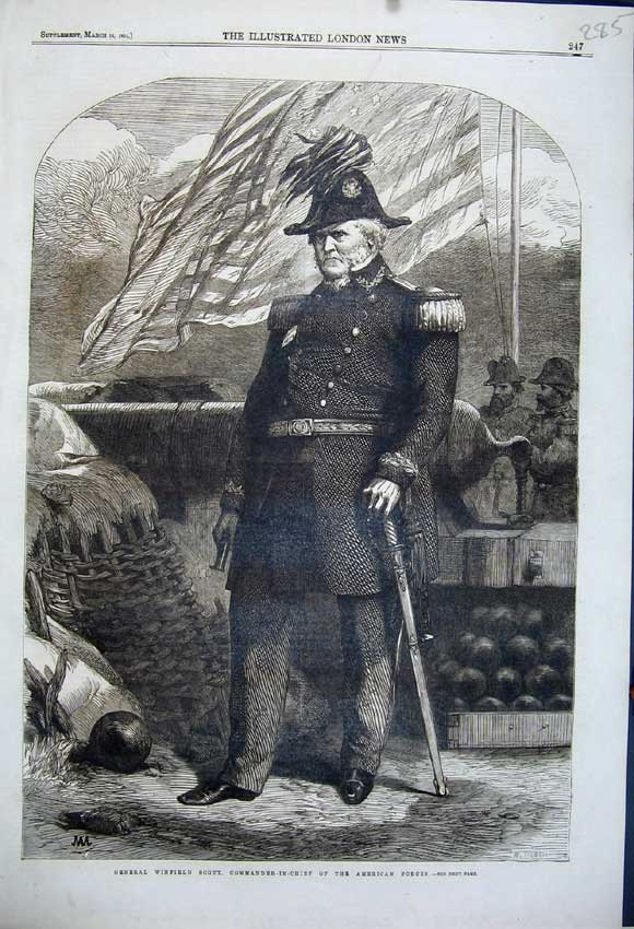 Print 1861 General Winfield Scott Commander American Forces 285N111 Old Original