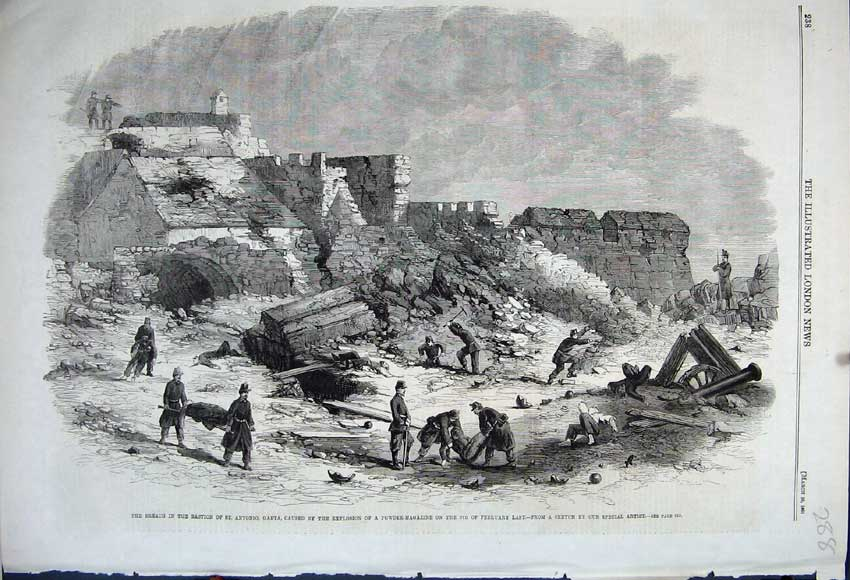 Print 1861 Bastion Antonio Gaeta Explosion Powder Magazine 288N111 Old Original