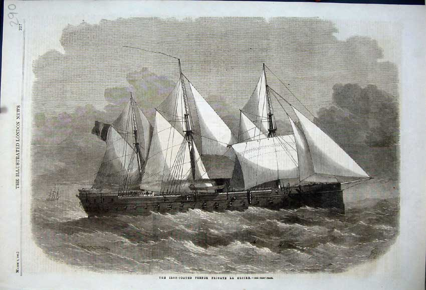 Print 1861 Iron-Coated French Frigate La Gloire Sailing Ship 290N111 Old Original