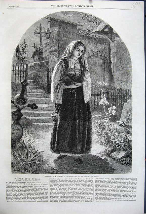 Print 1861 Teresina Woman Church Wyburd British Instituion 291N111 Old Original