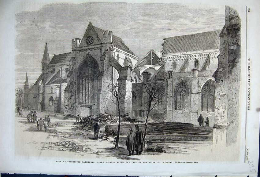 Print 1861 View Chichester Cathedral Fall Spire Ruins Church 295N111 Old Original