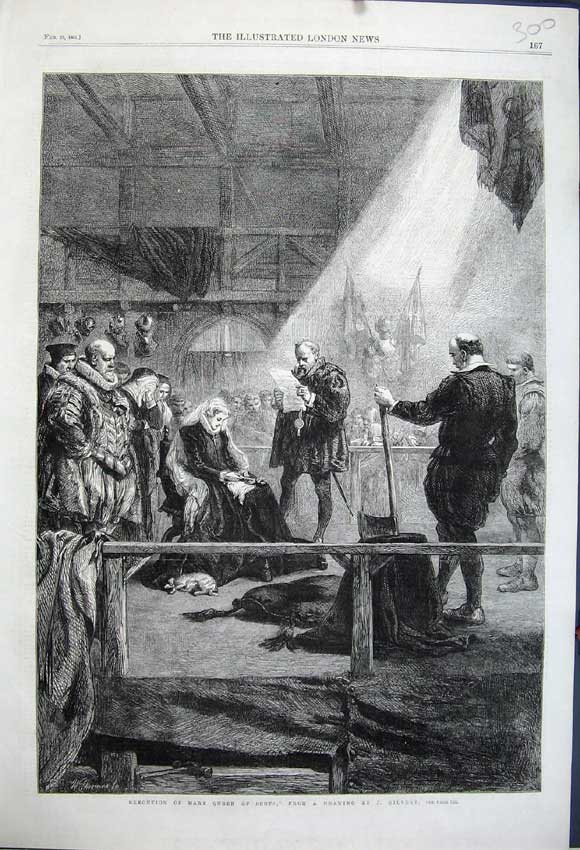 Print 1861 Execution Mary Queen Scots Death Drawing Gilbert 300N111 Old Original