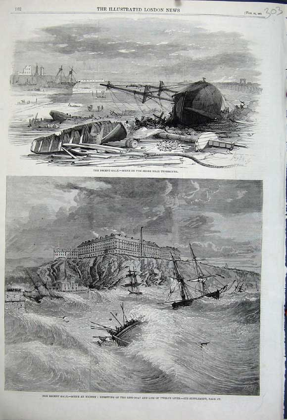 Print 1861 Gale Storm Ship Wreks Tynemouth Whitby Life-Boat 303N111 Old Original