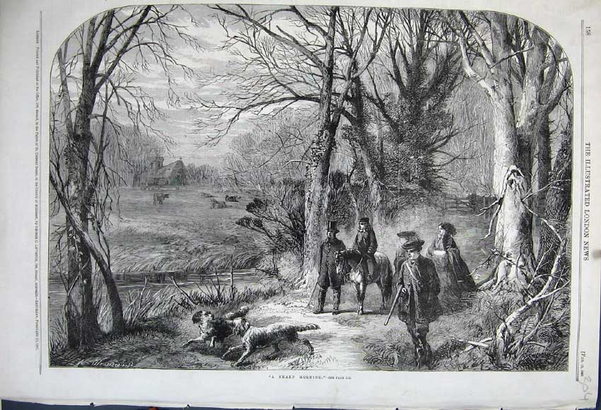 Print 1861 Country Scene Men Hunting Horse Dog Sport Church 304N111 Old Original