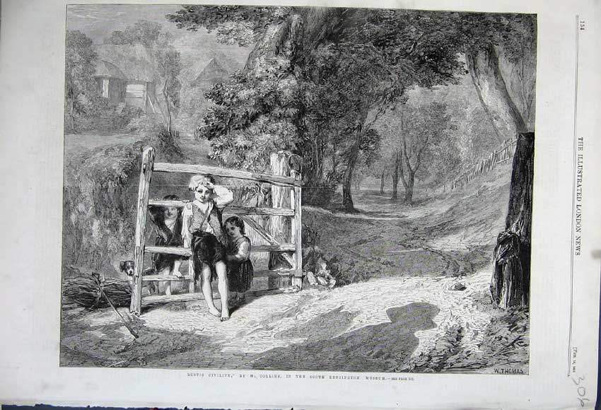 Print 1861 Rustic Civility Children Playing Country Collins 306N111 Old Original