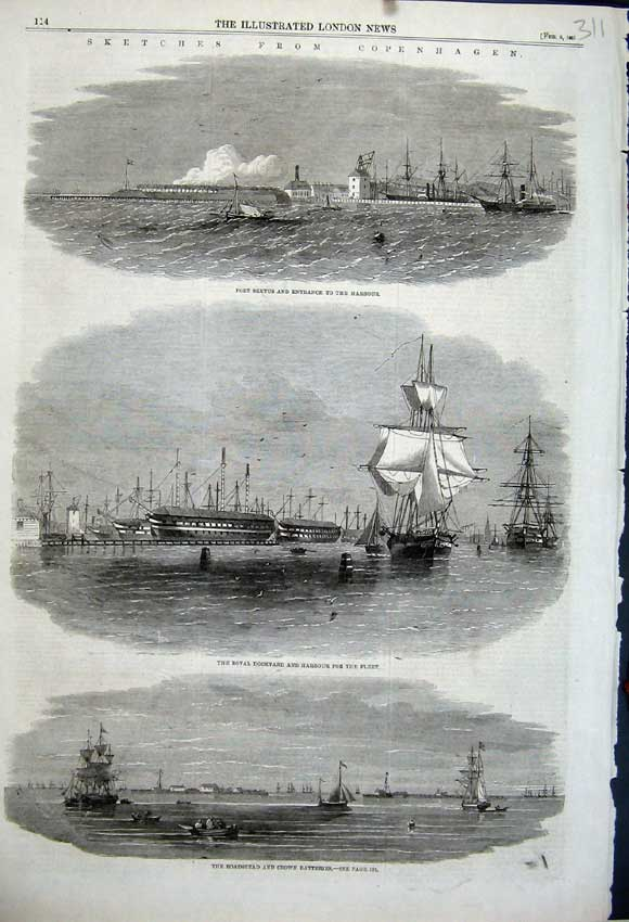 Print 1861 Copenhagen Fort Sextus Harbour Roadstead Crown 311N111 Old Original