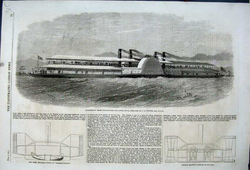 Print 1861 Government Troop-Steamer Lower Indus Engines 315N111 Old Original