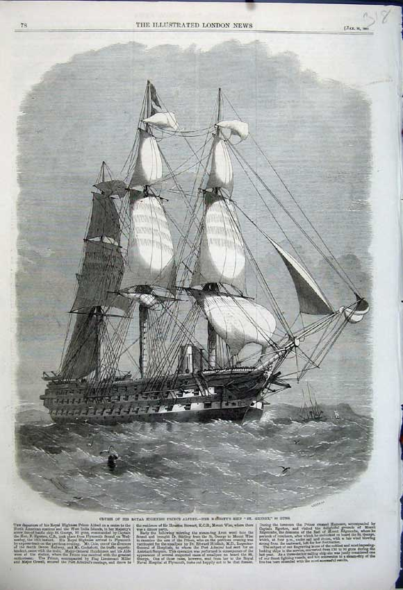 Print Cruise Highness Prince Alfred 1861 St George 90 Guns 318N111 Old Original