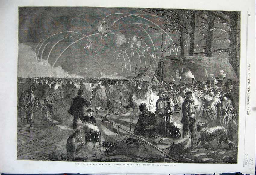 Print 1861 Weather Winter Night Scene Serpentine Fireworks 322N111 Old Original