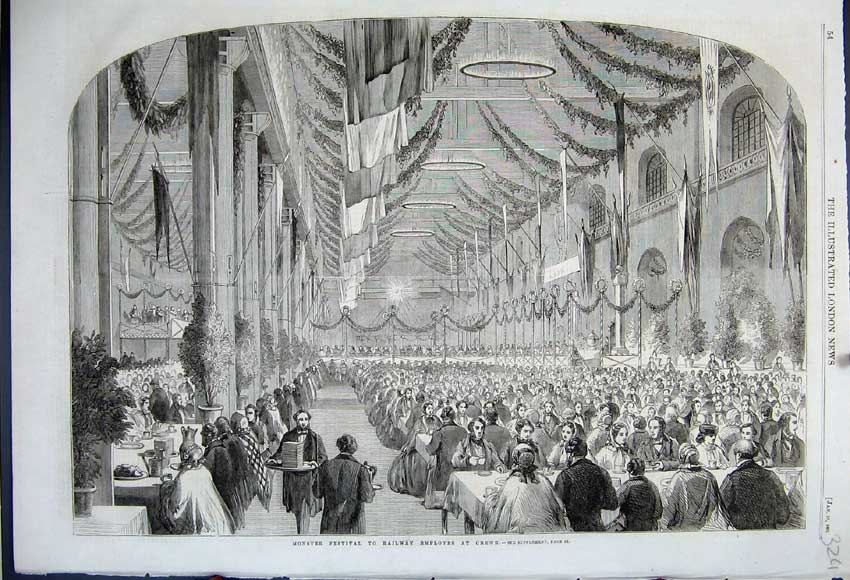 Print 1861 Monster Festival Railway Employees Crewe Banquet 324N111 Old Original
