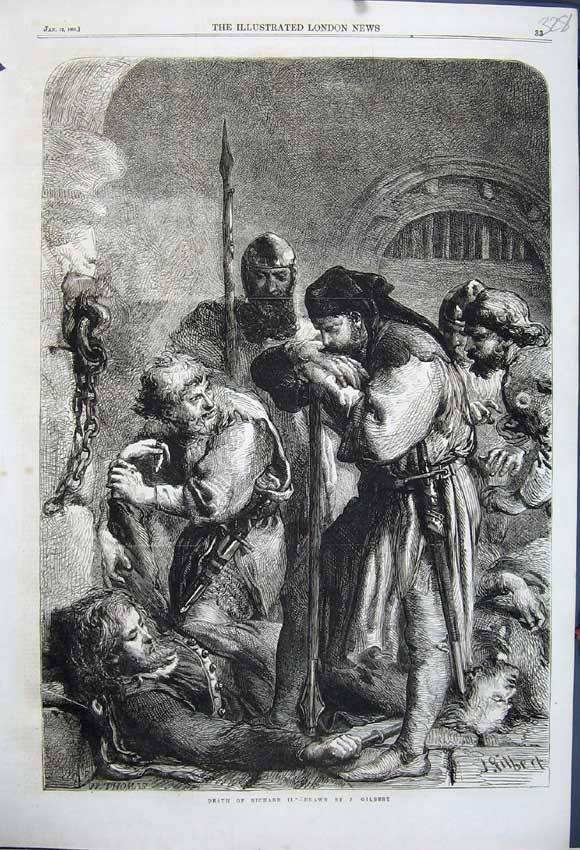 Print 1861 Scene Death Richard Ii Dead Man Gilbert Drawing 328N111 Old Original