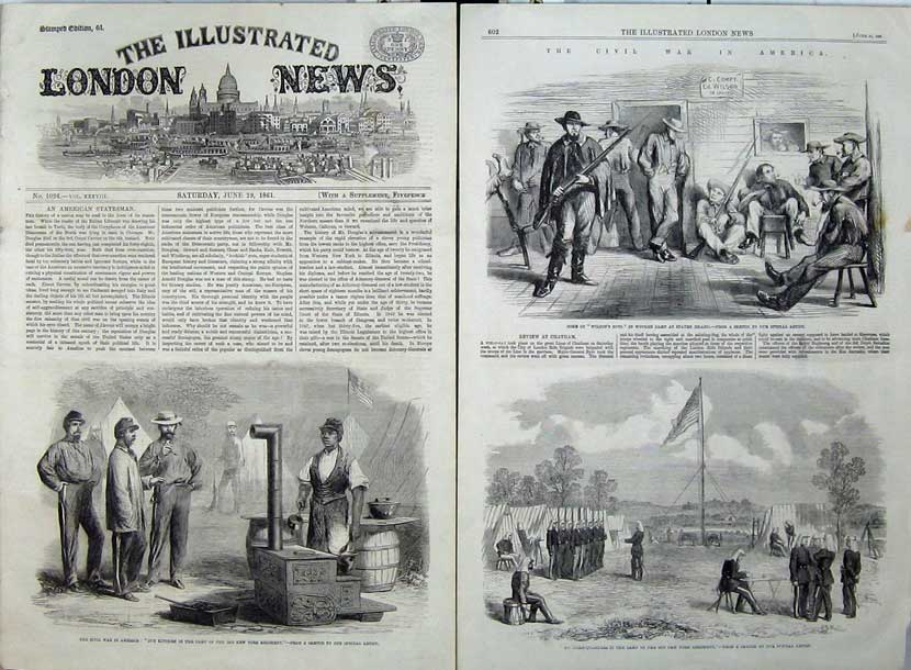 Print 1861 Civil War America Kitchen Camp New York Staten 502Tn111 Old Original