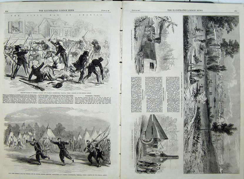 Print 1861 Civil War America Cavlary Firemen Richmond Railway 503Tn111 Old Original