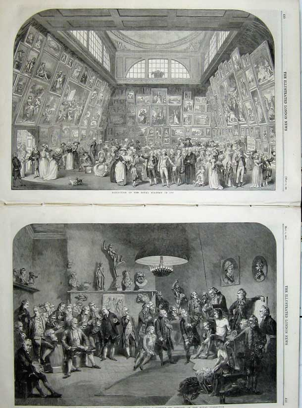 Print 1861 Royal Academicians Zoffany Academy Somerset House 509Tn111 Old Original