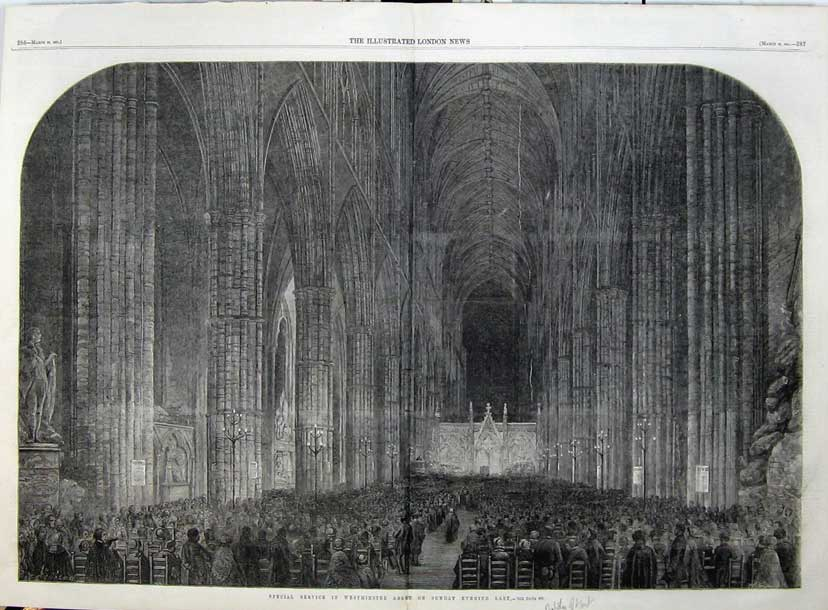 Print 1861 Service Westminster Abbey Duchess Kent Church 511Tn111 Old Original