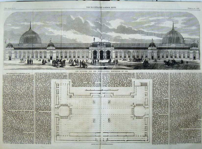 Print Building International Exhibition 1861 Ground Plan 512Tn111 Old Original