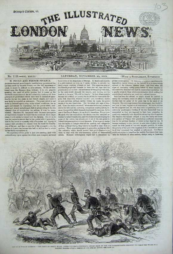 Print 1861 Civil War America Ball'S Bluff Potomac Bayonet 103N112 Old Original
