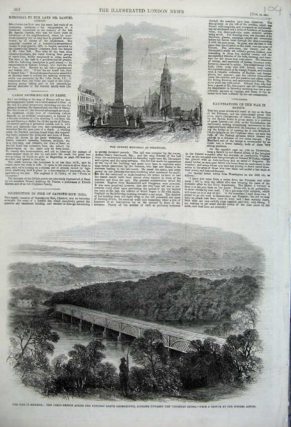 Print 1861 War America Bridge Potomac River Gurney Memorial 104N112 Old Original