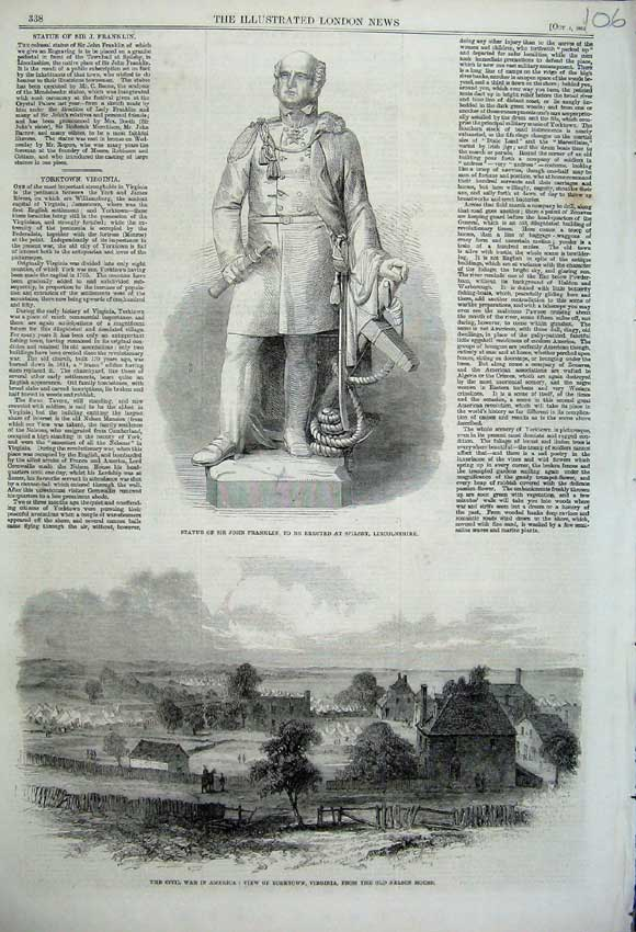 Print 1861 Statue John Franklin Civil War America Yorktown 106N112 Old Original
