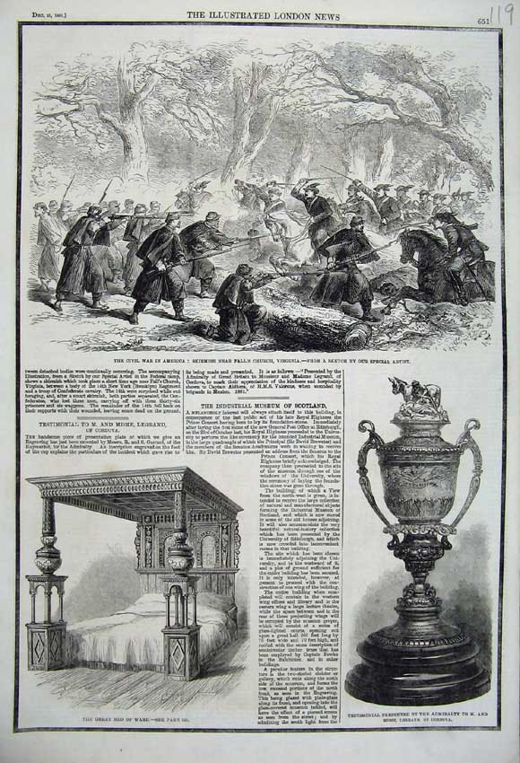 Print 1861 Civil War America Great Bed Ware Testimonial Cup 119N112 Old Original