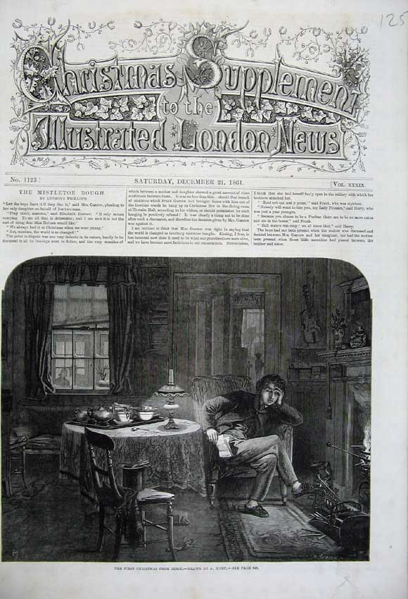 Print 1861 Christmas Home Fire-Place Man Letter Table Art 125N112 Old Original